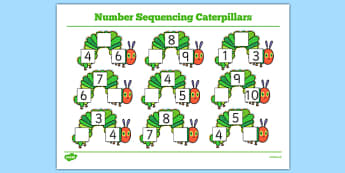 Number Sequencing Caterpillars to Support Teaching on The Very Hungry Caterpillar