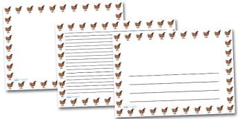 Hen Chicken Landscape Page Borders- Landscape Page Borders - Page border, border, writing template, writing aid, writing frame, a4 border, template, templates, landscape
