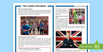 KS2 The London Marathon Differentiated Fact File - KS2, comprehension, fact file, reading, reading comprehension, information, reading activity, London