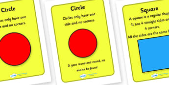 2D Shape Information Posters for Visually Impaired - 2D, shape, information, 2D shapes, posters, visually, impaired, visually impaired, shape information