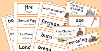 The Great Fire of London Word Cards Arabic Translation - arabic