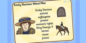 Emily Davison Word Mat - emily davidson, word mat, topic words, topic mat, themed word mat, writing aid, mat of words, key words, keywords, key word mat