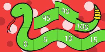 Counting by 5s Number Snake - Counting, Numberline, Number line, Counting on, Counting back, even numbers, foundation stage numeracy, snake, counting in 5s