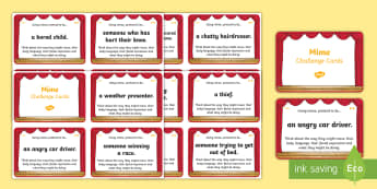 Mime Differentiated Role Play Challenge Cards - CfE Expressive Arts, Drama, Mime, role play, 2nd level Drama, challenge cards ,Scottish