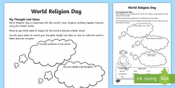 KS2 World Religion Day (15th Jan) My Thoughts and Ideas Activity Sheet - KS2 World Religion Day, beliefs, thoughts about religion, personal ideas, year 3, year 4, year 5, ye