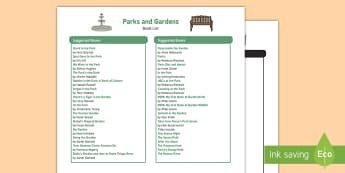 Parks and Gardens Book List - EYFS, Early Years, Parks and Gardens, playgrounds, wildlife, Literacy, English, fiction, non-fiction
