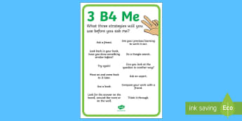 3b4Me Display Poster - New Zealand Back to School, independent learning, independent learners, C3B4Me, see three before me,