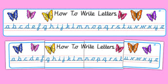 Cursive Alphabet Display Banner (Butterfly) - Alphabet Banner, cursive, Alphabet display, butterfly, butterlfies, A-Z banner, sign, display, DfES Letters and Sounds, Letters and sounds, Letters A-Z, Learning Letters