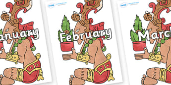 Months of the Year on Huun Ixim - Months of the Year, Months poster, Months display, display, poster, frieze, Months, month, January, February, March, April, May, June, July, August, September