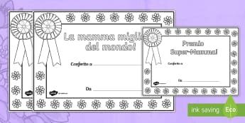 Festa della Mamma Certificati Fogli da colorare - festa, della, mamma, certificati, fogli, da, colorare, italiano, italian, materiale, scolastico