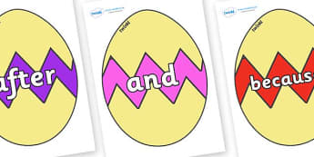 Connectives on Easter Eggs (Cracked) - Connectives, VCOP, connective resources, connectives display words, connective displays