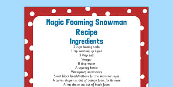 Magic Foaming Snowman Recipe - magic, foaming snowman, recipe