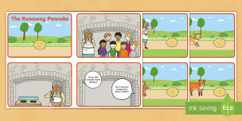 The Runaway Pancake Story Sequencing Cards - pancakes, pancake day, shrove tuesday, fat tuesday, pancake tuesday, sequence, order,