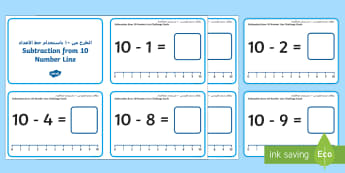 Subtraction from 10 Number Line Challenge Cards Arabic/English - Subtraction Up to 10 with a Number Line Challenge Cards,subtraction, up to 10, number line, challeng