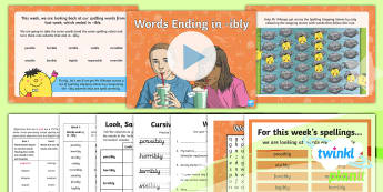 PlanIt Spelling Year 6 Term 3A W6: Words Ending in  -ibly Spelling Pack - Spellings Year 6, Y6, ibly, ending, statutory, spelling, weeks, weekly, lists, spag, gps