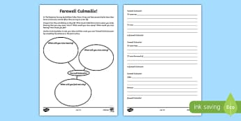 Farewell Culmailie Poetry Writing Activity Sheet, worksheet