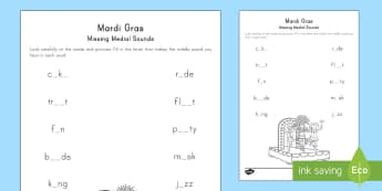 Mardi Gras Medial Sounds Missing Sounds Activity Sheet - Mardi Gras, Fat Tuesday, Shrove Tuesday, Carnival
