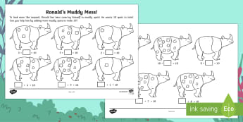 Ronald the Rhino's Muddy Mess Number Bonds to 10 Activity - Children's Books, Ronald the Rhino, children's book, rhyme, story, text, rhyming couplets, syllabl