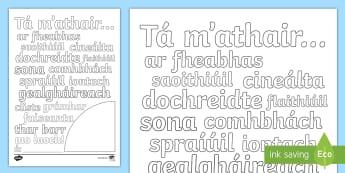 Bileog Dháthúcháin: Lá na nAithreacha, Ag Déanamh Cur síos ar Aithreacha - Bileog Dháthúcháin, colouring page, Father's Day, La na nAithreacha, describe, dean cur síos ar