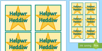 Helpwr Heddiw Star Badges - Helpwr Heddiw, Special Helper, Helper, Helpwr Heddiw Badge, Helpwr y Dydd, Helpwr, Welsh Second Lang