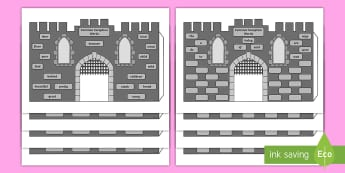 Common Exception Words Years 1 and 2 3D Castle Paper Craft - High Frequency Words 3D Castle Visual Aid - visual aid, castle, 3D paper craft, craft, castles, knig