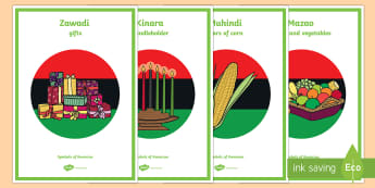 Symbols of Kwanzaa Vocabulary Display Posters - Kwanzaa, Symbols of Kwanzaa