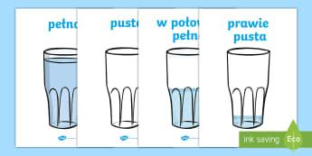 Plakaty Objetość cieczy w szklance - woda, ciecz, cieczy, płynu, płyn, objętość, objętości, matematyka, szklanka, szklance, Polish