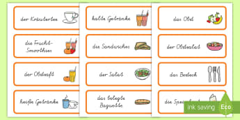 Healthy Eating Cafe Role Play Word Cards German - german, healthy eating cafe
