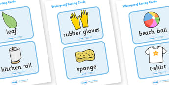Waterproof Activity Sorting Cards - Waterproof, non-waterproof, not waterproof, science, materials, investigation, properties, activity, game