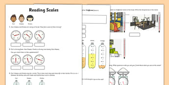 Reading Scales Activity Sheet - reading, scales, activity, sheet, read, maths, worksheet