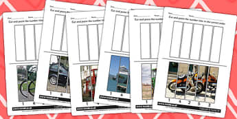 Transport Themed Number Sequencing Photo Puzzles - numbers, sort