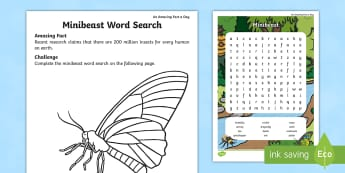 Minibeast Word Search - Amazing Fact Of The Day, activity sheets, powerpoint, starter, morning activity, May, word search, i