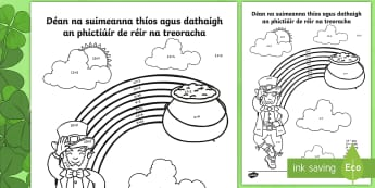 St. Patrick's Day Addition to 20 (Lá Fhéile Pádraig Suimiú go 20) Activity Sheet - la feile padraig, Lá féile Pádraig, La Fheile Phadraig, lá le Phádraig, ROI - St. Patrick's Day Resources, addition, addition to 20, sums, number facts, St. Patrick's