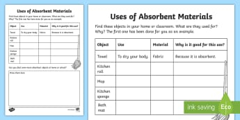 Uses of Absorbent Materials Activity Sheet - Identify and compare the suitability of a variety of everyday materials, Compare and group together