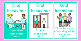 Kind Behaviour Posters - Good manners, good behaviour, class management, display, banner, poster, sign, sharing, behaviour management, SEN, polite, indoor voice
