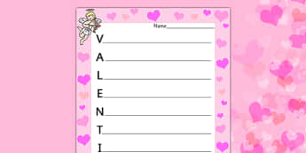 Valentine's Acrostic Poem - acrostic poems, acrostic poem, acrostic, poem, valentines poetry, valentines poem, valentines day acrostic poem, poetry, literacy, writing activity, activity