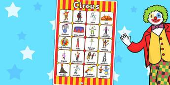 Circus Vocabulary Poster - vocab, display poster, circus display