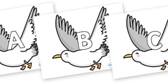 A-Z Alphabet on Seagulls - A-Z, A4, display, Alphabet frieze, Display letters, Letter posters, A-Z letters, Alphabet flashcards