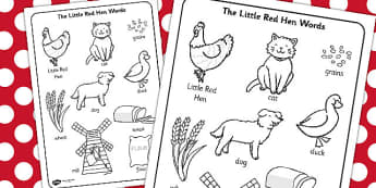 The Little Red Hen Words Colouring Sheet - little red hen, colour