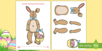 Easter Bunny Drive Game - easter bunny, beetle drive, easter game, rabbit,
