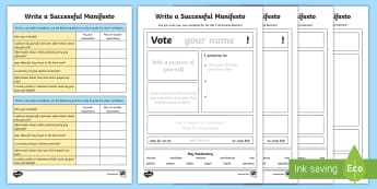 Write Your Own Manifesto Differentiated Writing Frame Pack - General Election, pack