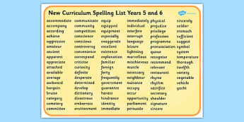 2014 Curriculum Spelling List Years 5 And 6 Word Mat - Spell