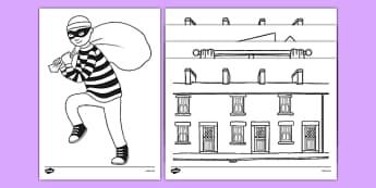 Burglar Colouring Sheets - burglar bill, burglar, colouring sheets, colour