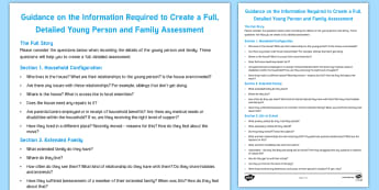 Guidance on Completion of Young Person and Family Assessment - Young People & Families Case File Recording, referral, chronology, contents page,buddy system, safeg