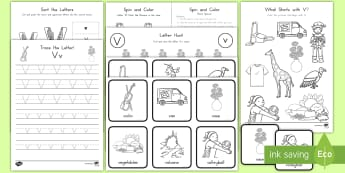 Letter V Activity Pack - Alphabet Packets, Letter V, Letter Formation, Letter Identification, Beginning Sound Activities, EYF