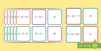 Associative Property of Addition Matching Cards - Associative Property, Addition, Equations, operations and Algebraic thinking, addition properties