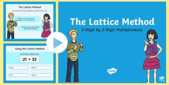 Lattice Method PowerPoint - Maths, year 5, multiplication, Lattice, Lattice Method, 2 digit by 2 digit, multiplication problems,