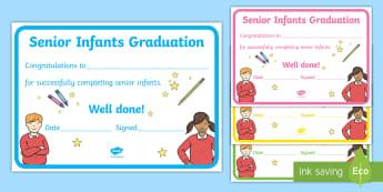 Senior Infants Graduation Certificate - End of School, term, Graduation, Certificate, Senior Infants, School, Classroom Management,Irish