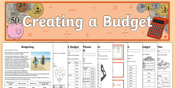 Year 5 Financial Mathematics  Resource Pack - Australian Curriculum Number and Algebra, ACMNA106, budget, budgets, budgeting, create a budget, pla