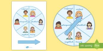 Gefühle Spinnrad Aktivität - Gefühle Spinnrad, Gefühle, Emotionen, DaF/DaZ, DaF, DaZ, Sonderschule, Gefühle äußern, über Ge